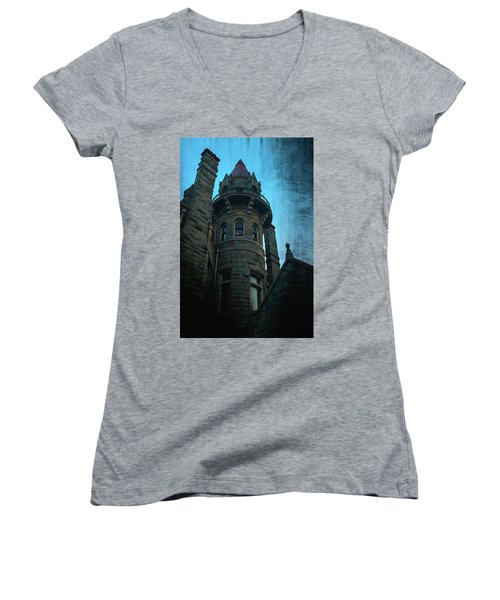 The Haunted Tower Women's V-Neck T-Shirt (Junior Cut) by Keith Boone