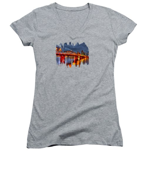 Women's V-Neck T-Shirt (Junior Cut) featuring the photograph The Hawthorne Bridge - Pdx by Thom Zehrfeld