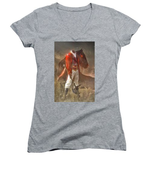 The Headless Horseman Women's V-Neck T-Shirt (Junior Cut) by Sheila Mcdonald