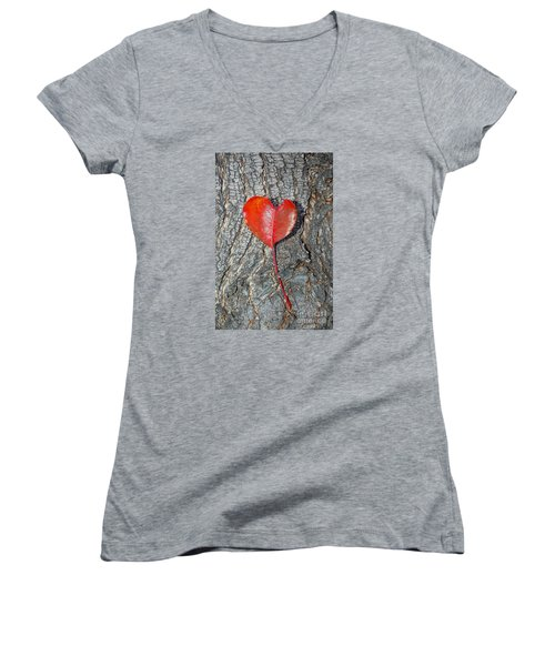 Women's V-Neck T-Shirt (Junior Cut) featuring the photograph The Heart Of A Tree by Debra Thompson