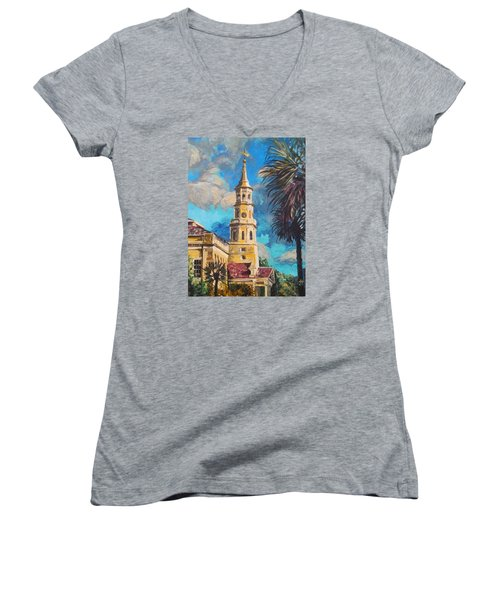 Women's V-Neck featuring the painting The Heart Of Charleston by Jennifer Hotai