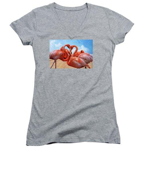 Women's V-Neck T-Shirt (Junior Cut) featuring the photograph The Heart Of The Flamingos by John Kolenberg