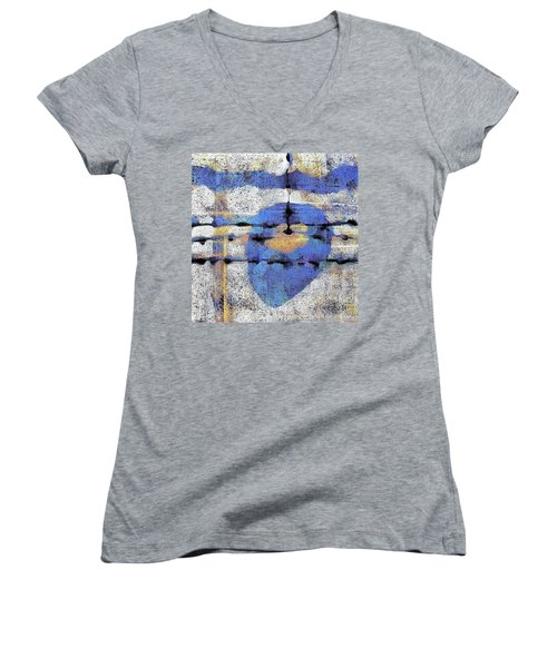 Women's V-Neck T-Shirt (Junior Cut) featuring the painting The Heart Of The Matter by Maria Huntley