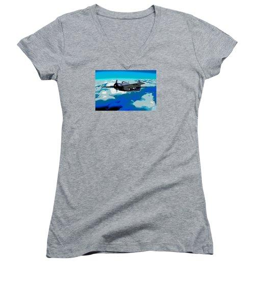 The High Flight Of A Grumman F4f Wildcat Women's V-Neck T-Shirt