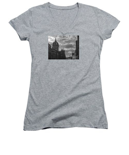 The High Kirk Of Edinburgh Women's V-Neck T-Shirt (Junior Cut) by Amy Fearn