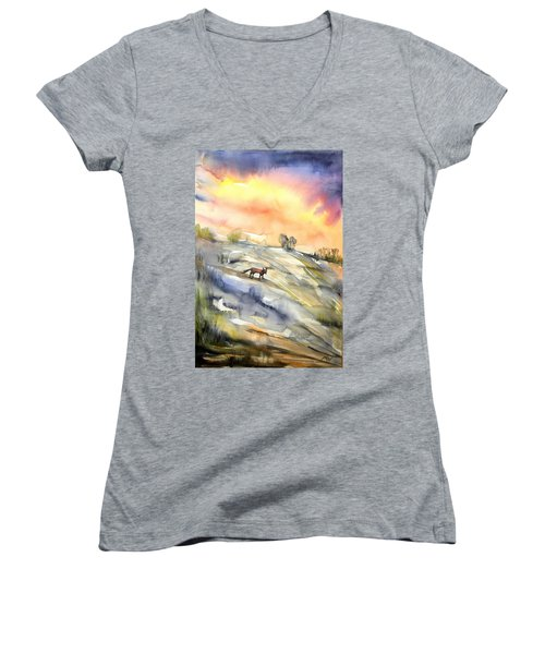The Hill Of The Foxes Women's V-Neck