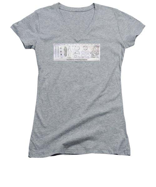 The History Of Baseball Patents Women's V-Neck T-Shirt (Junior Cut) by Jon Neidert