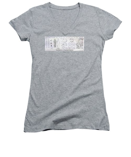 The History Of Baseball Patents Women's V-Neck T-Shirt (Junior Cut)