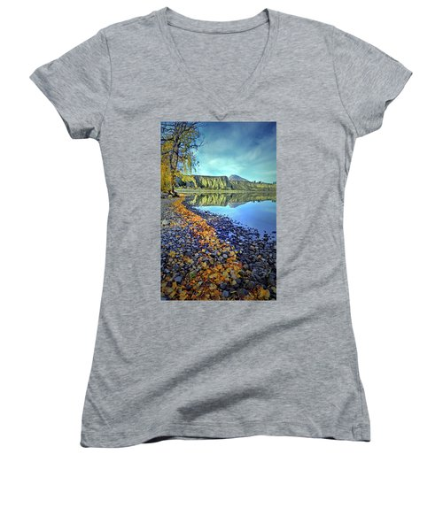 Women's V-Neck T-Shirt (Junior Cut) featuring the photograph The Hoodoos And Highway 97 by Tara Turner