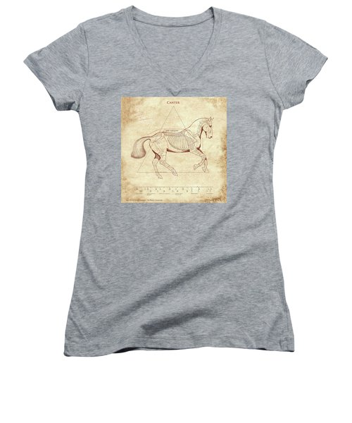 The Horse's Canter Revealed Women's V-Neck T-Shirt (Junior Cut) by Catherine Twomey