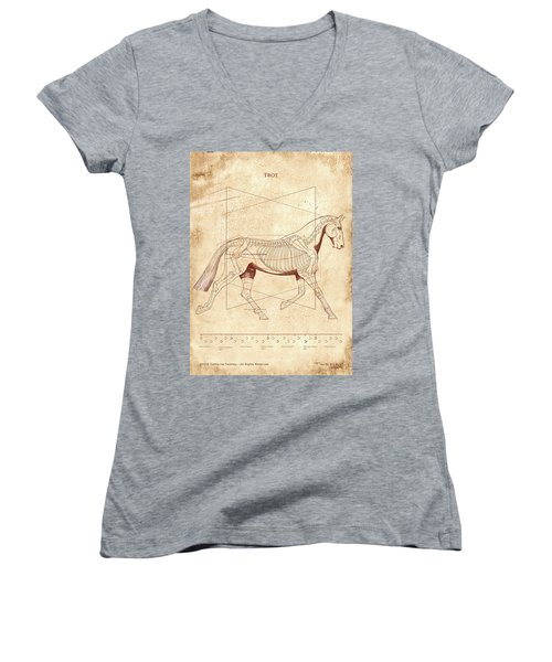 The Horse's Trot Revealed Women's V-Neck T-Shirt (Junior Cut) by Catherine Twomey