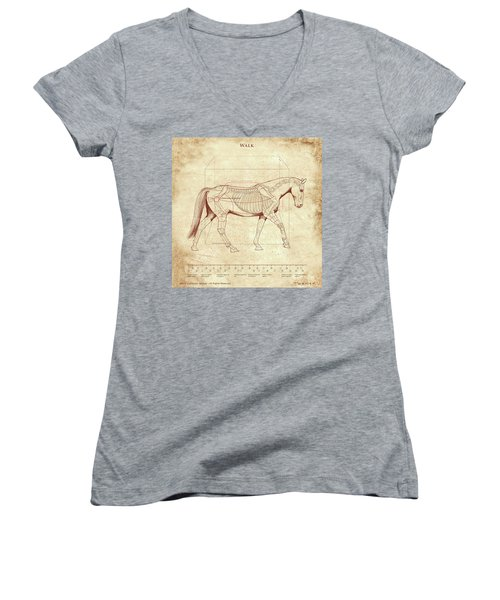 The Horse's Walk Revealed Women's V-Neck T-Shirt (Junior Cut) by Catherine Twomey