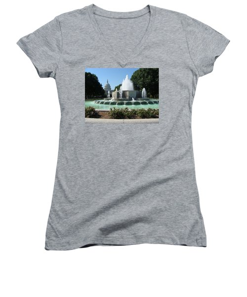 Women's V-Neck T-Shirt (Junior Cut) featuring the painting The House Of Democracy by Rod Jellison