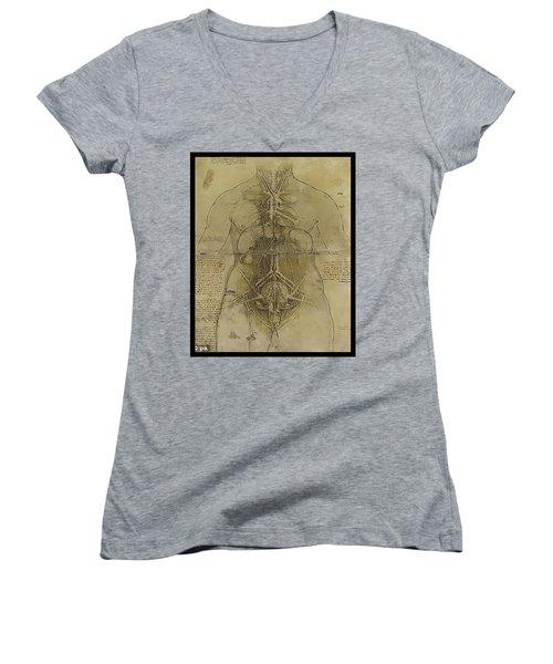 The Human Organ System Women's V-Neck T-Shirt (Junior Cut) by James Christopher Hill