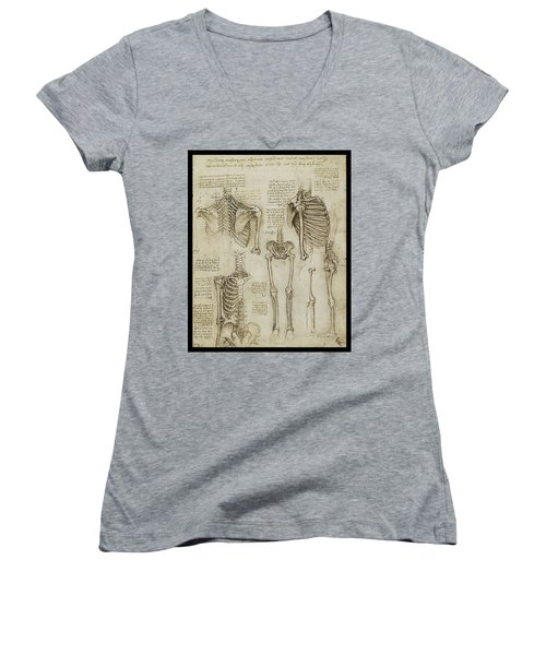 The Human Ribcage Women's V-Neck T-Shirt (Junior Cut) by James Christopher Hill
