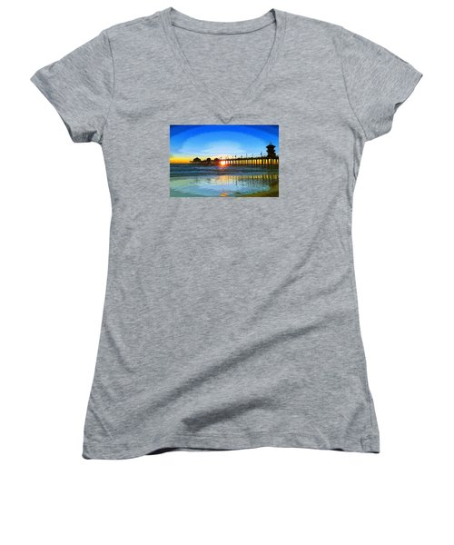 The Huntington Beach Pier Women's V-Neck (Athletic Fit)