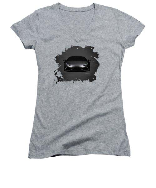 The Huracan Women's V-Neck T-Shirt (Junior Cut) by Mark Rogan