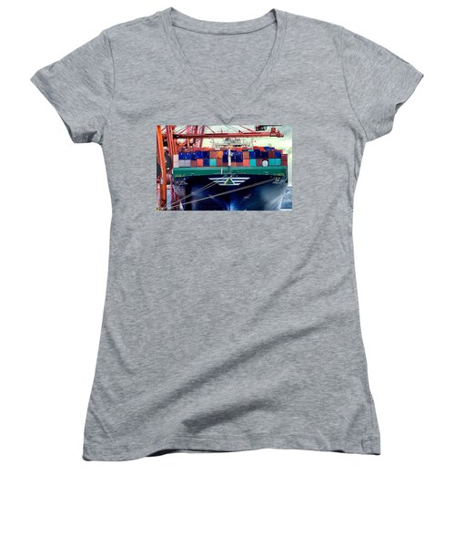 Women's V-Neck T-Shirt (Junior Cut) featuring the photograph The Hyundai Faith Seattle Washington by Michael Rogers