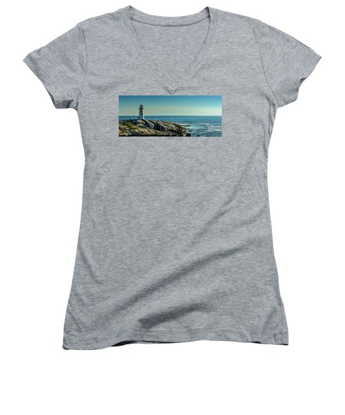 The Iconic Lighthouse At Peggys Cove Women's V-Neck T-Shirt (Junior Cut) by Ken Morris