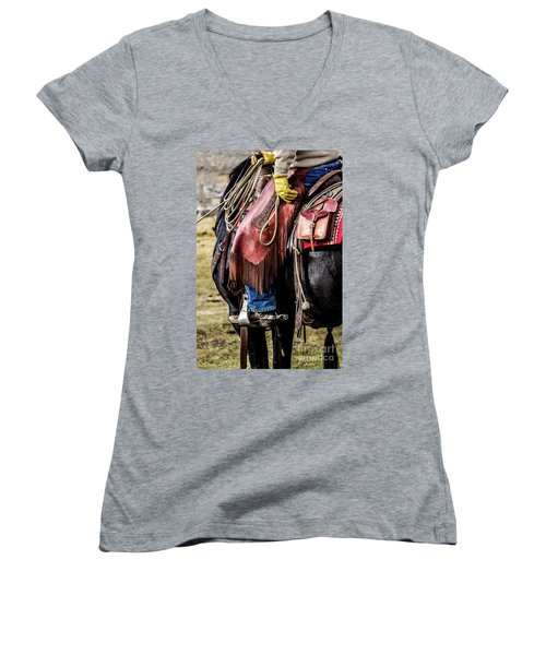 The Idaho Cowboy Western Art By Kaylyn Franks Women's V-Neck (Athletic Fit)