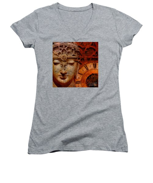 The Illusion Of Time Women's V-Neck T-Shirt (Junior Cut) by Christopher Beikmann
