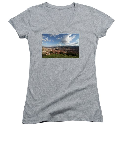 The Inca Capital Of Cusco Women's V-Neck T-Shirt (Junior Cut) by Aidan Moran