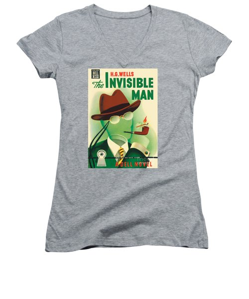 Women's V-Neck T-Shirt (Junior Cut) featuring the painting The Invisible Man by Gerald Gregg