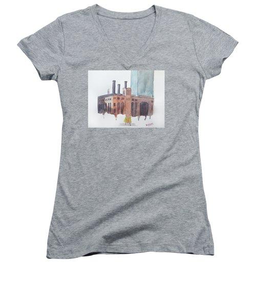 The Jersey City Powerhouse Women's V-Neck T-Shirt (Junior Cut) by Keshava Shukla