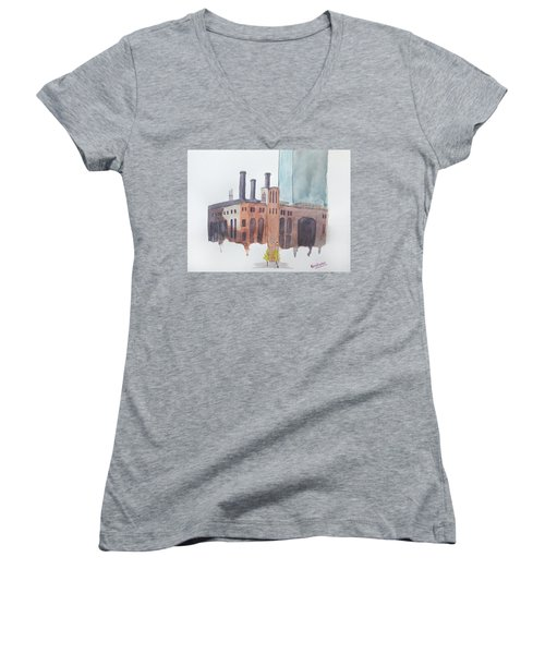 The Jersey City Powerhouse Women's V-Neck T-Shirt