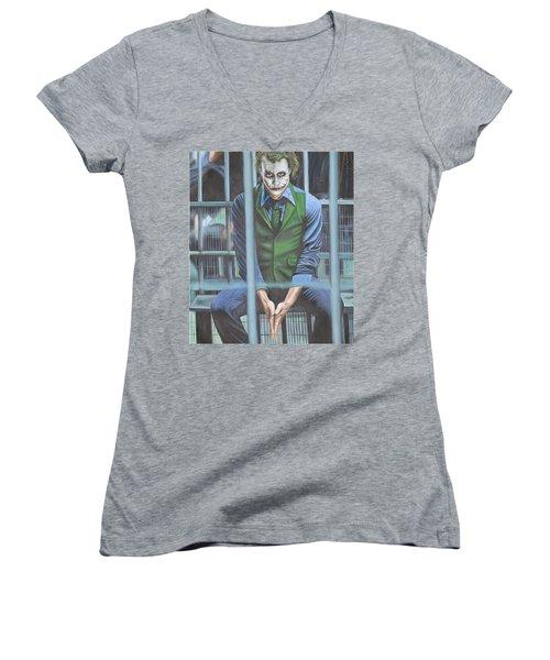 The Joker Women's V-Neck T-Shirt (Junior Cut) by Colm Hutchinson