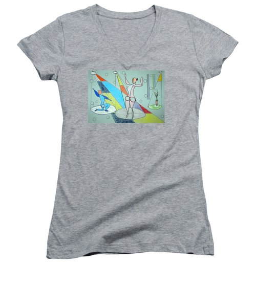 The Jugglers Women's V-Neck T-Shirt (Junior Cut) by J R Seymour