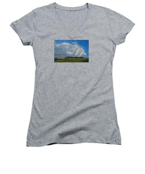 The June Rains Have Passed Women's V-Neck T-Shirt (Junior Cut) by Bruce Morrison