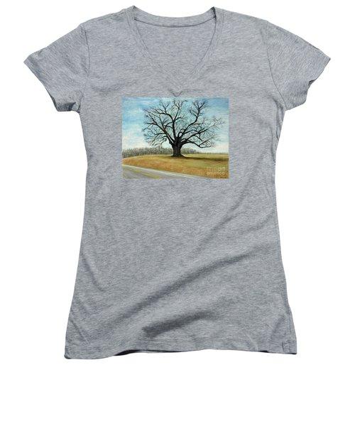 The Keeler Oak Women's V-Neck T-Shirt (Junior Cut) by Lyric Lucas