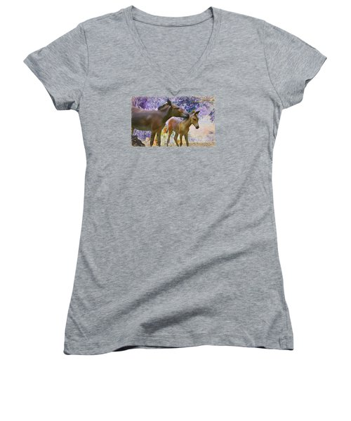 Women's V-Neck T-Shirt (Junior Cut) featuring the painting The Kiss Edition 2 by Judy Kay