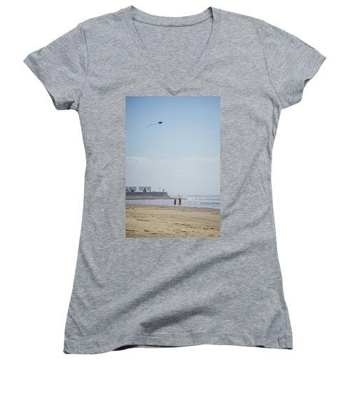 The Kite Fliers Women's V-Neck T-Shirt (Junior Cut) by Allen Sheffield