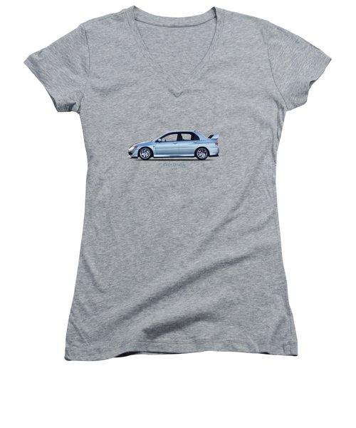 The Lancer Evolution Viii Women's V-Neck T-Shirt (Junior Cut) by Mark Rogan