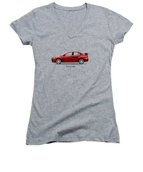 The Lancer Evolution X Women's V-Neck T-Shirt (Junior Cut) by Mark Rogan
