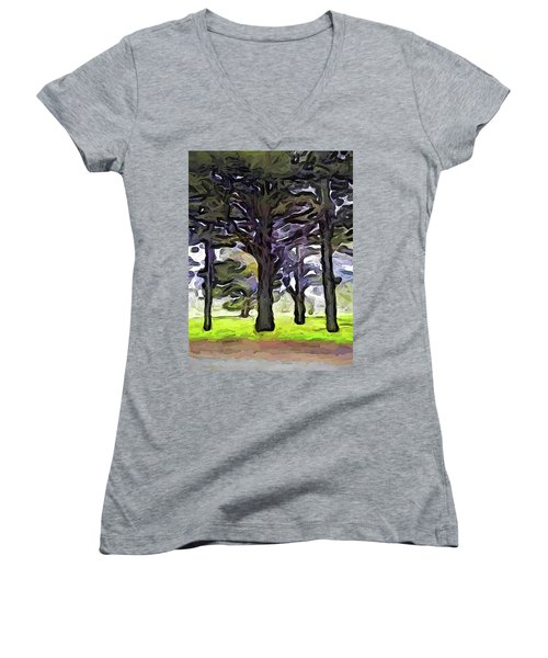 The Landscape With The Trees In A Row Women's V-Neck (Athletic Fit)
