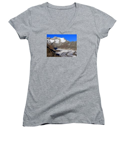 The Large Aletsch Glacier In Switzerland Women's V-Neck