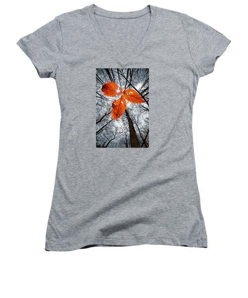The Last Leaf Of November Women's V-Neck T-Shirt (Junior Cut) by Robert Charity