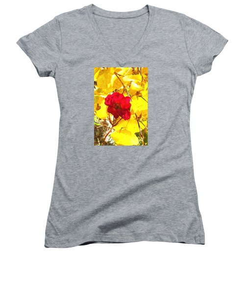 Women's V-Neck T-Shirt (Junior Cut) featuring the photograph The Last Rose Of Autumn II by Anastasia Savage Ealy