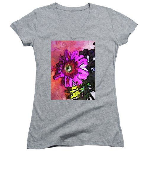 The Lavender Flower Above The Yellow Flower Women's V-Neck (Athletic Fit)