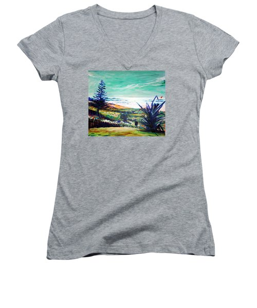 Women's V-Neck T-Shirt (Junior Cut) featuring the painting The Lawn Pandanus by Winsome Gunning