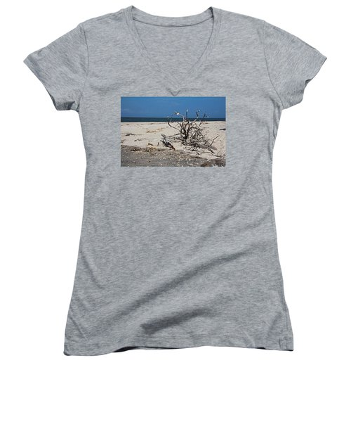 Women's V-Neck T-Shirt featuring the photograph The Laws Of Gravity by Michiale Schneider