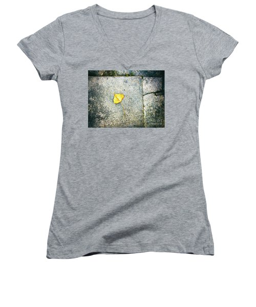Women's V-Neck T-Shirt featuring the photograph The Leaf by Silvia Ganora