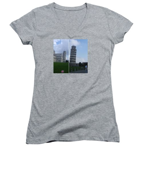The Leaning Tower Of Pisa Women's V-Neck T-Shirt (Junior Cut) by Patsy Jawo