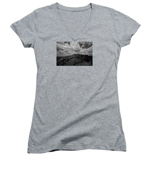 Women's V-Neck T-Shirt (Junior Cut) featuring the photograph The Light House by Gary Bridger