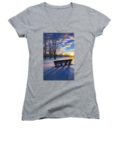 Women's V-Neck T-Shirt (Junior Cut) featuring the photograph The Light That Beckons by Phil Koch