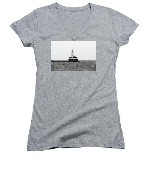 The Lighthouse Black And White Women's V-Neck