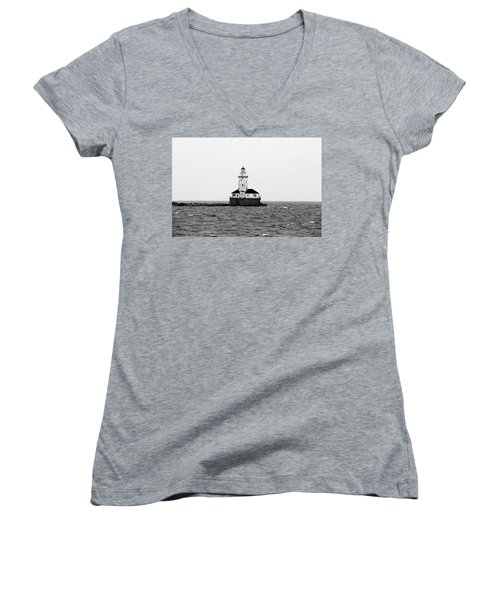 The Lighthouse Black And White Women's V-Neck (Athletic Fit)